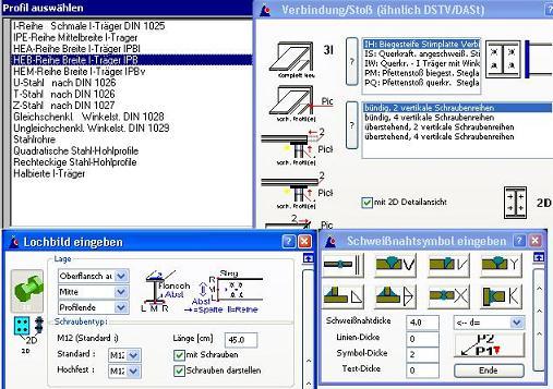 Eingabemasken Stahlprofile für AutoCAD BricsCAD MicroStation