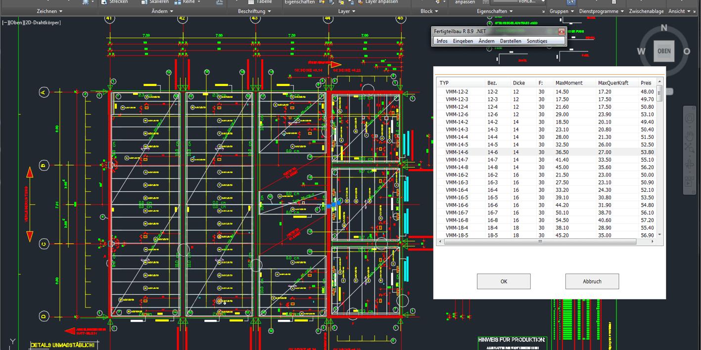 CAD Bewehrung Intelligente CAD Software  2D / 3D für Architektur , Schalpläne Bewehrung
