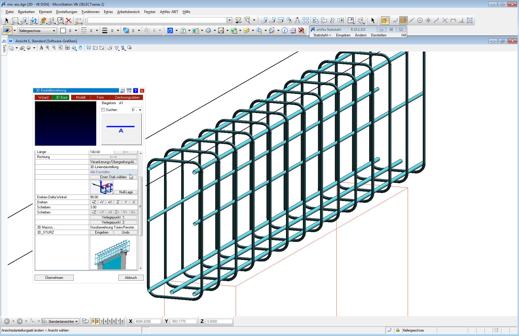 3D Bewehrung unter AutoCAD BricsCAd MicroStation