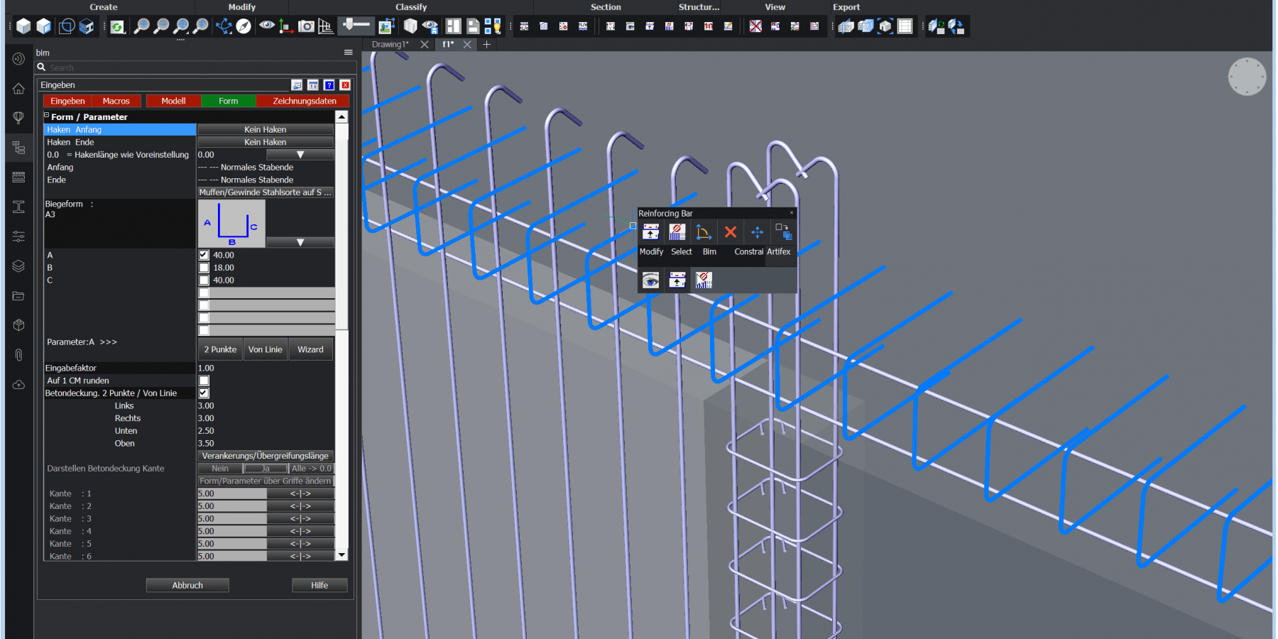CAD Reinforcement BricsCAD BIM
