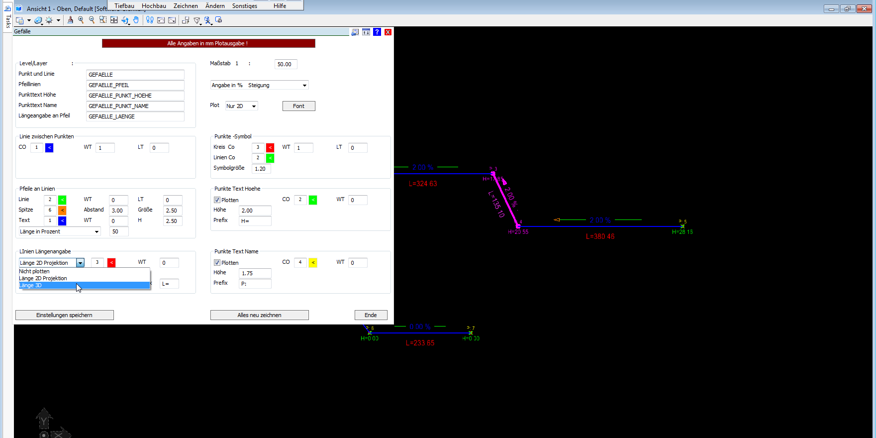 Entwässerungsplan AutoCAD BricsCAD MicroStation